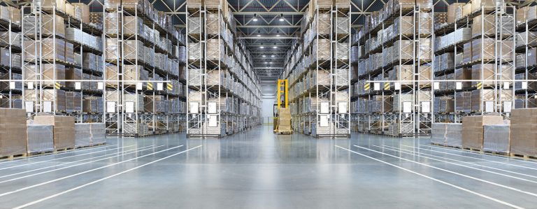Interior of distribution center warehouse